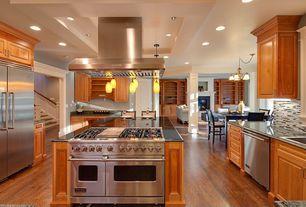 "Traditional Kitchen with Columns, Viking - 48"" gas range - vgcc, specialty door, Breakfast bar, Pendant light, Ceramic Tile"