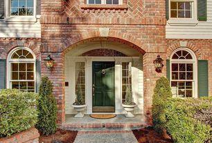 Traditional Front Door with six panel door, Casement, Arched window