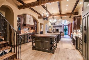 Rustic Kitchen with Stone Tile, Breakfast bar, Northern Maple - Desert Wood 5 in. Engineered Hardwood Wide Plank, U-shaped