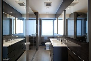 Contemporary 3/4 Bathroom with Ms International Premium Black Granite Tile, frameless showerdoor, Undermount sink, Flush