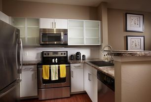 Contemporary Kitchen with European Cabinets, Complex granite counters, Glass panel, Flush, U-shaped, Subway Tile