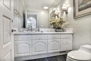 Traditional Powder Room with Powder room, Crown molding, MS International Monte Cristo Granite, Raised panel, Wall sconce