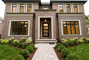 Traditional Front Door with Pathway, Fence, Glass panel door, exterior brick floors