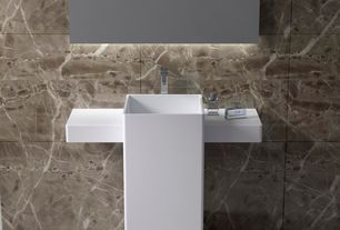 Modern Full Bathroom with Calcatta Ivory 18 in. x 18 in. Glazed Polished Porcelain Floor and Wall Tile