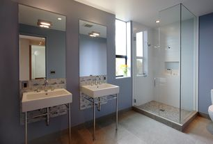 Contemporary Master Bathroom with stone tile floors, wall-mounted above mirror bathroom light, Standard height, Wall Tiles