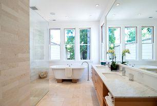 Contemporary Master Bathroom with European Cabinets, Double sink, Undermount sink, stone tile floors, no showerdoor, Shower