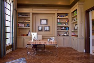 Traditional Home Office with Arched window, High ceiling, Casement, Paint, Herringbone hardwood floor, Hardwood floors