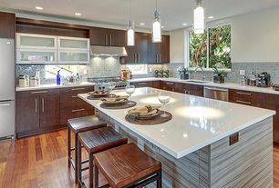 Contemporary Kitchen with Glass panel, Pull-up cabinet doors, Kitchen island, L-shaped, Flush, Breakfast bar, Hardwood floors