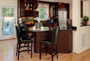 Contemporary Kitchen with Oak - natural 2 1/4 in. solid hardwood strip, Stonemark Granite-Granite Countertop in Black Galaxy