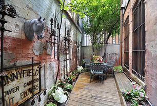 Traditional Patio with Raised beds, Fence, Pathway