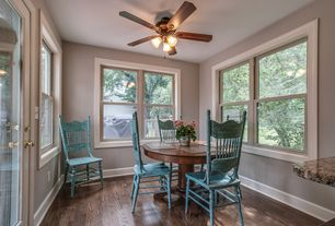 Country Dining Room with Hardwood floors, Chandelier, Ceiling fan, Winners Only, Inc. Pelican Point Dining Table