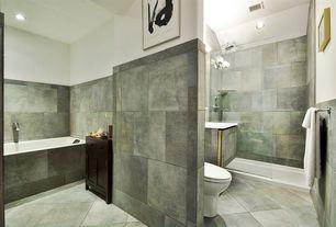 Modern Full Bathroom with drop in bathtub, Bathtub, Undermount sink, Standard height, Shower, Full Bath, Flat panel cabinets