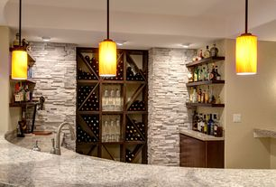 Contemporary Bar with Simple granite counters, Built in wine rack, Pendant light, Daltile eastern sand (stacked stone) s319