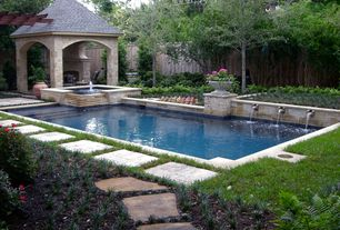 Traditional Swimming Pool with exterior stone floors, Pool with hot tub, Pathway, Gazebo, Fence, Fountain, Raised beds