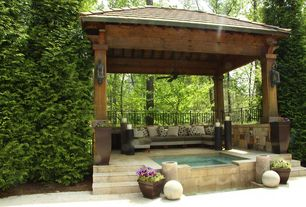 """Craftsman Hot Tub with Tom's Custom Pool/Patio Concrete, Crate and Barrel Bronze 26.5"""" Tall Tapered Planter, Fence, Gazebo"""