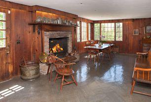 Country Dining Room with herringbone tile floors, Glass panel door