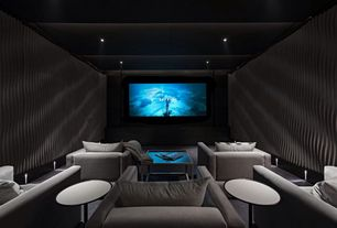 Contemporary Home Theater with interior wallpaper, Exposed beam, Carpet