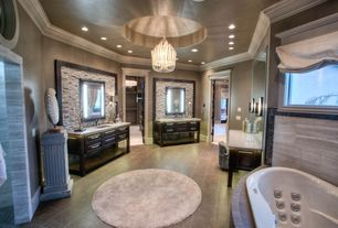 Traditional Master Bathroom with Limestone counters, Custom bathtub, Safavieh cozy shag rug, Flush, Raised panel, Chandelier
