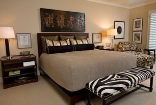 Eclectic Master Bedroom with Casement, Carpet, Crown molding, Standard height