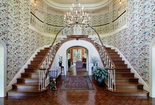 Traditional Staircase with Crown molding, Chandelier, interior wallpaper, Double staircase, Balcony, Hardwood floors