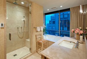 Traditional Master Bathroom with Limestone, Shower, picture window, Limestone counters, Standard height, Handheld showerhead