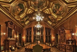 Traditional Dining Room with Casement, Chandelier, Built-in bookshelf, Pendant light, Wall sconce, Crown molding