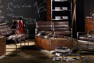 Modern Living Room with Hardwood floors, Mural, Steamer Trunk End Table, Built-in bookshelf, Standard height