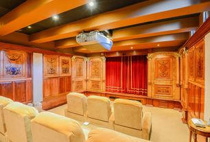 Traditional Home Theater with interior wallpaper, Exposed beam, Carpet
