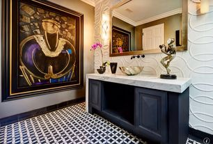 Eclectic Powder Room with Vinyl floors, ANN SACKS Mosaics Circle 3, Complex marble counters, Flush, Wall sconce, Vessel sink
