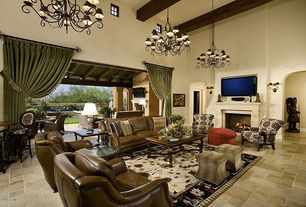 Traditional Living Room with Theodore Leather Recliner, travertine floors, picture window, High ceiling, Exposed beam, Paint