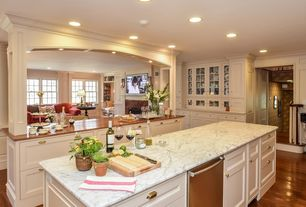 Traditional Kitchen with Kitchen island, Bianco venatino marble, Flat panel cabinets, can lights, Glass panel, dishwasher