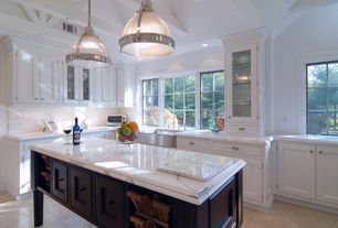 Contemporary Kitchen with Carrara marble countertop, Hickory Hardware Williamsburg 3 in. Cup Pull