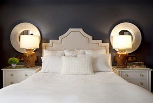 Art Deco Master Bedroom with My Chic Nest Lexi Non-Tufted Headboard, West elm organic brighton matelasse duvet cover