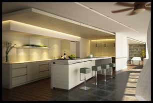 Contemporary Kitchen with Breakfast bar, Pendant light, Corian counters, L-shaped, Flush, European Cabinets, Glass Tile