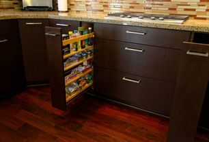 Contemporary Pantry with Hardwood floors, Pull out pantry, High gloss santos mahogany, click lock hardwood flooring