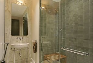 Modern Full Bathroom with frameless showerdoor, Fireclay Tile London Fog, Console sink