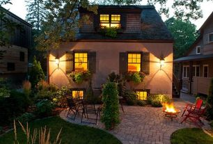 Cottage Patio with Casement, Pathway, exterior brick floors, Fire pit, Raised beds, double-hung window