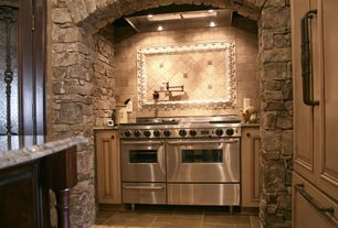 Rustic Kitchen with Kitchen island, can lights, Custom hood, Paint 1, Complex granite counters, Standard height, Raised panel