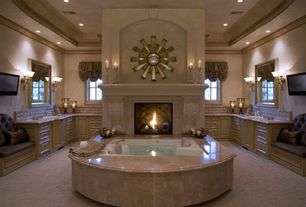 Traditional Master Bathroom with Dual sinks, Jacuzzi, Inset cabinets, Limestone counters, Limestone Tile, Flush, Soaking