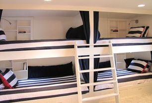 Modern Kids Bedroom with Bunk beds, can lights, bedroom reading light, Carpet, Standard height, Built-in bookshelf