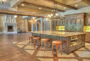 Mediterranean Kitchen with High ceiling, Exposed beam, can lights, Kitchen island, Built In Panel Ready Refrigerator, Lattice