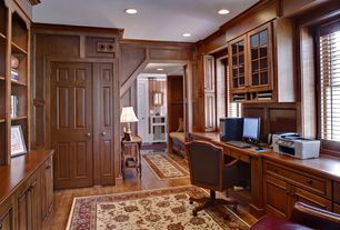 Traditional Home Office with Standard height, six panel door, Crown molding, Hardwood floors, double-hung window, can lights