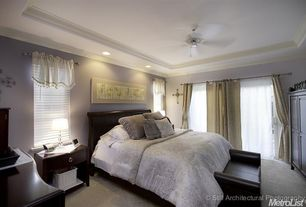 Traditional Master Bedroom with Ceiling fan, Crown molding, Carpet