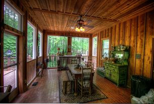 Eclectic Porch with French doors, Screened porch