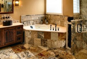 Rustic Master Bathroom with Savoy house - durham exterior wall sconce, Paint 2, Pental - blackbird polished granite, Paint 1