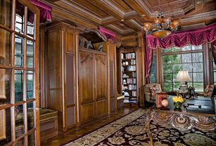 Traditional Home Office with Chandelier, Built-in bookshelf, can lights, Box ceiling, Hardwood floors, Crown molding