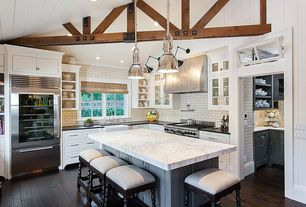 Traditional Kitchen with Adhesive decorative wall tile, Flush, Exposed beam, Soapstone counters, Pendant light, L-shaped