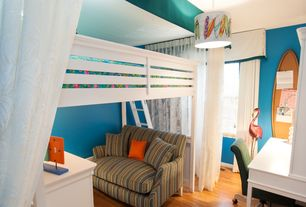 Modern Kids Bedroom with Paint 2, Loft bed, double-hung window, no bedroom feature, Double wide armchair, Hardwood floors