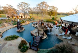 Eclectic Swimming Pool with Fountain, Custom Swimming Pool Water Feature, Gazebo, Custom pool residential design, Fire pit