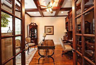 Traditional Home Office with Box ceiling, flush light, French doors, Carpet, Built-in bookshelf, Hardwood floors